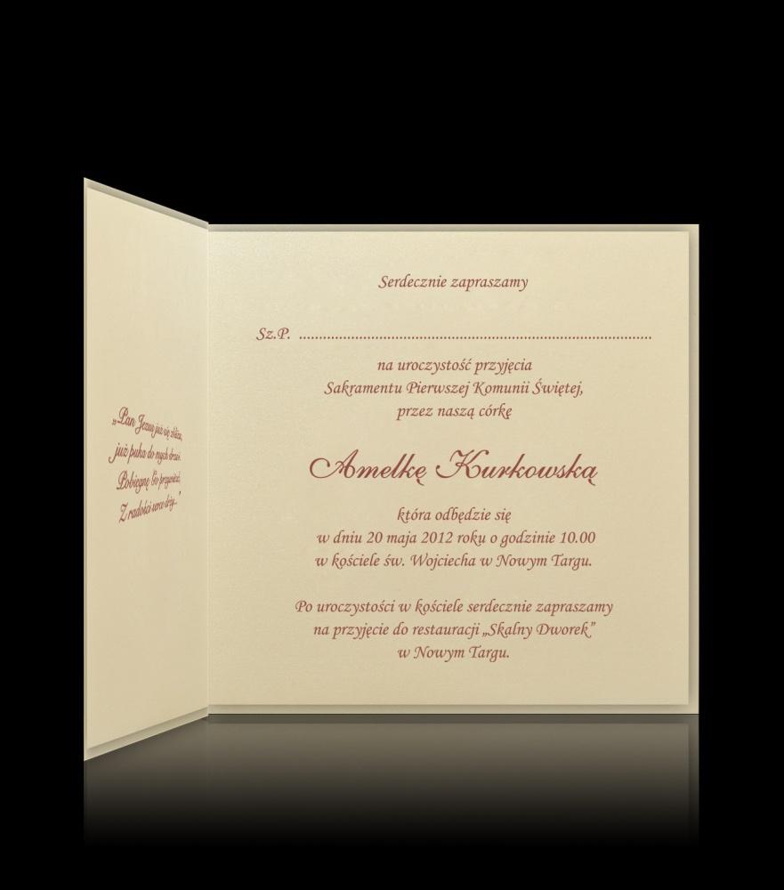 Zaproszenia Na Komunię Zaproszenie Na Komunię świętą K A16303