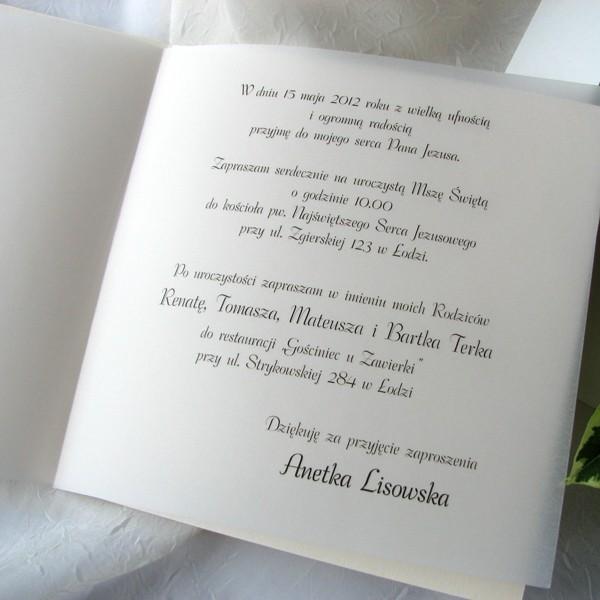 Zaproszenia Na Komunię Zaproszenie Na Komunię świętą K 1732 6 Tulipan